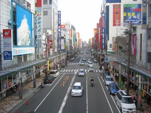 Boulevard de magasins d'électronique