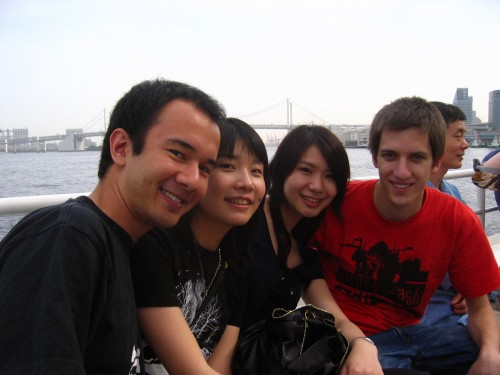 Friends on the busboat to Odaiba