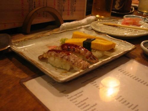Sushi crevette et omelette (tamago)