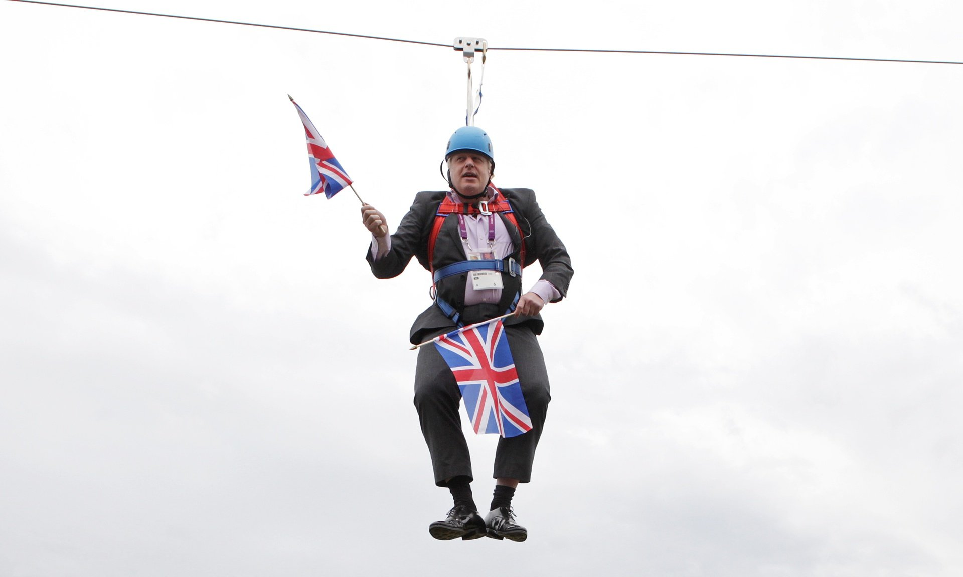 Boris Johnson on a zip wire